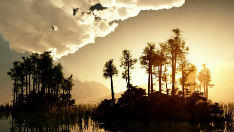 trees on mountain lake islands. sunset with sunbeams Animation