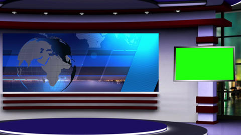 News TV Studio Set 107 Virtual Green Screen Background Loop stock footage