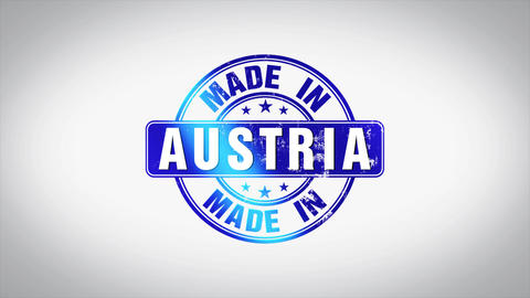 Made in Austria Word 3D Animated Wooden Stamp Animation Animation