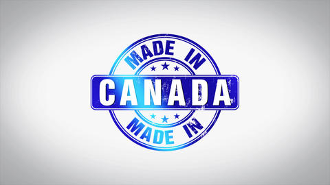 Made in Canada Word 3D Animated Wooden Stamp Animation Animation