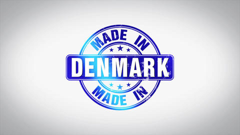 Made in Denmark Word 3D Animated Wooden Stamp Animation Animation