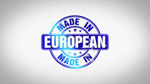Made in European Word 3D Animated Wooden Stamp Animation Animation