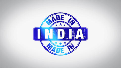 Made in India Word 3D Animated Wooden Stamp Animation Animation