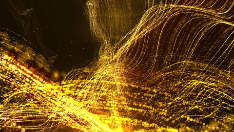 Digital Abstract Gold Wave Particles Form Animation