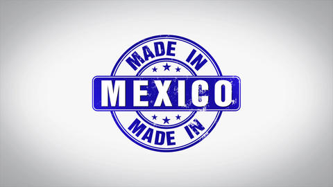 Made in Mexico Word 3D Animated Wooden Stamp Animation