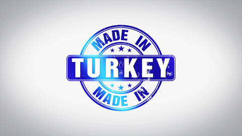 Made in Turkey Word 3D Animated Wooden Stamp Animation Animation