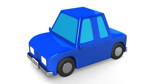 Blue Car On White Background Animation