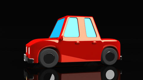 Red Car On Black Background CG動画