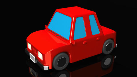Red Car On Black Background Animation