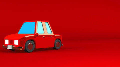 Red Car On Red Text Space Animation