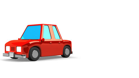 Red Car On White Text Space Animation