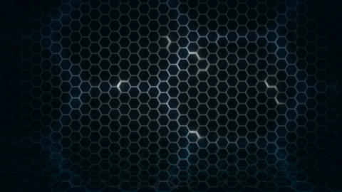Honeycomb pattern with lighting effect over the dark background 4K 3840 x 2160 Footage