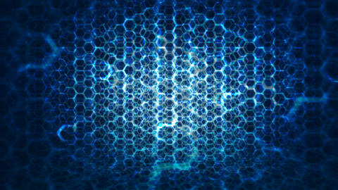 4K RenderTechnology Honeycomb pattern with lighting effect over the dark backgro Footage