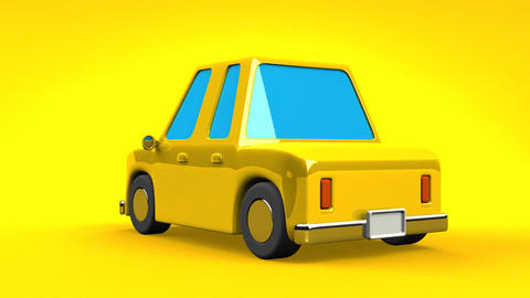 Yellow Car On Yellow Background Animation