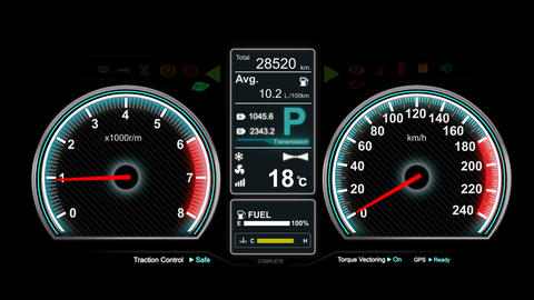 4K Animation of car dashboard speed rpm meter and automobile icon 002 Live Action