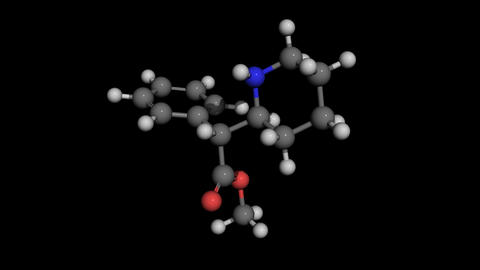 methylphenidate (ritalin) ball and stick molecule model rotating Animation