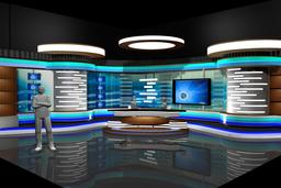 3D Virtual Tv Studio News Set 2 3D Modell