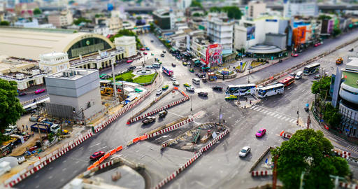 Timelapse Of Traffic On Road Near Bangkok Railway Station Filmmaterial