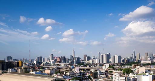 Passing Cloud And Traffic On Road Near Bangkok Railway Station, Thailand 영상물