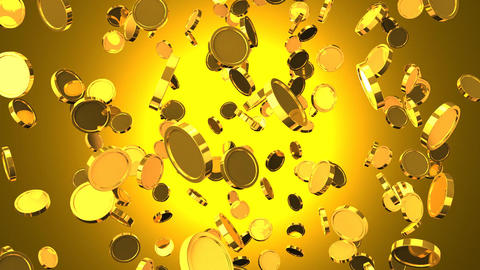 Falling Gold Coins On Gold Background Animation