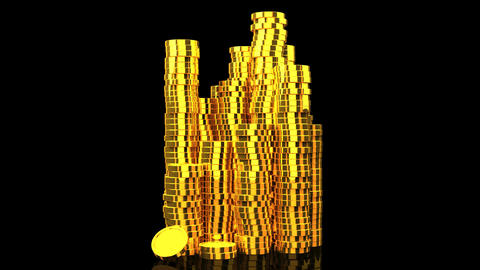 Gold Coins On Black Background Stock Video Footage