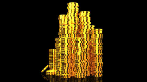 Gold Coins On Black Background CG動画