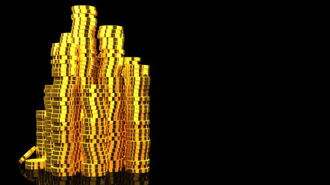 Gold Coins On Black Text Space Animation