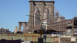 USA New York City Brooklyn Bridge and cloudless blue sky Footage