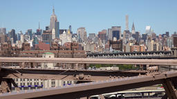 USA New York City Manhattan midtown with Empire State seen from Brooklyn Bridge Footage
