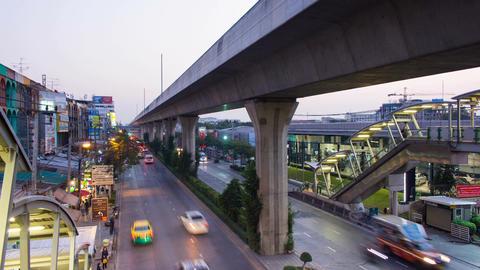 Bangkok traffic flow in evening time on Sukhumvit road,Time lapse Footage