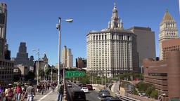 USA New York City Manhattan Borough President's Office from Brooklyn Bridge ビデオ