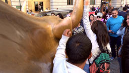 USA New York City Manhattan the neck of Charging Bull on Broadway Footage