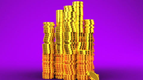 Gold Coins On Purple Background Animation
