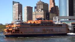 USA New York City Lower Manhattan skyline behind Staten Island ferry Image