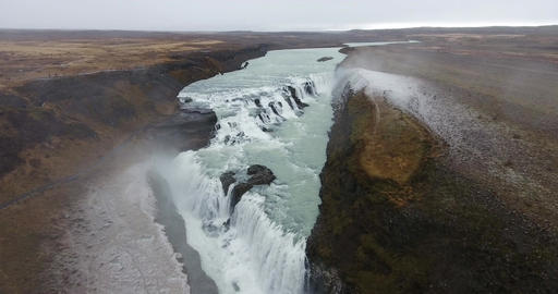 Aerial Gullfoss Waterfall In Iceland Footage