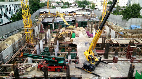Construction a building in urban,Bangkok Thailand Footage