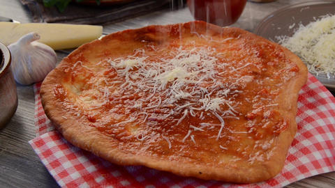 Fried langos bread with cheese and garlic footage Live Action