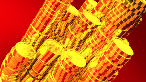 Gold Coins On Red Background CG動画
