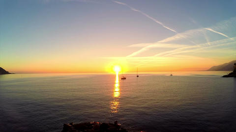 Sunset and Sailing Yachts Footage