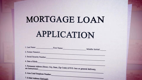 Blank Mortgage loan application on a paper sheet Animation