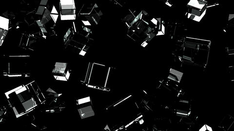 Glass Cubes Abstract On Black Background Animation