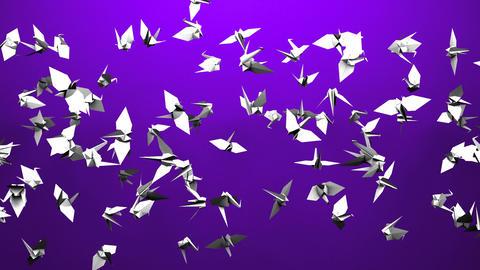 Origami Crane On Purple Background Animation
