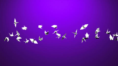 Origami Crane On Purple Background CG動画