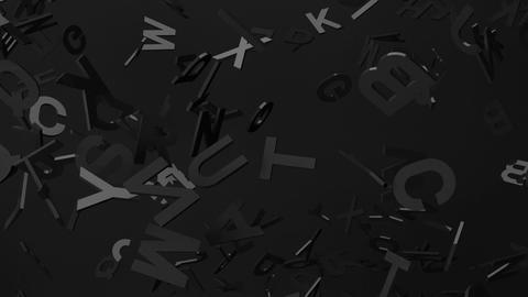 Black Alphabets On Black Background Animation