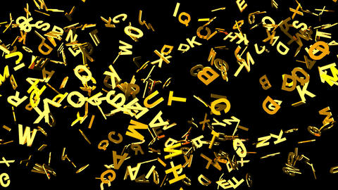 Gold Alphabets On Black Background Animation