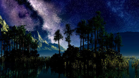 timelapse stars above a lake with islands Stock Video Footage