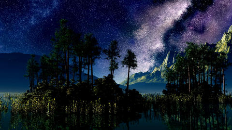 timelapse stars above a lake with islands Animation