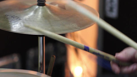 Playing drummer. Hands of a man with sticks in hand, beating a drum 4 Footage
