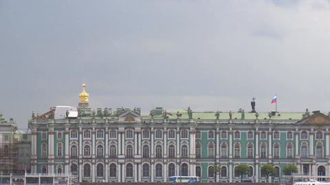 View of the Hermitage in Saint-Petersburg from Neva River in cloud summer day Footage