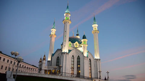 View of Kul-Sharif mosque in Kazan city in evening Footage
